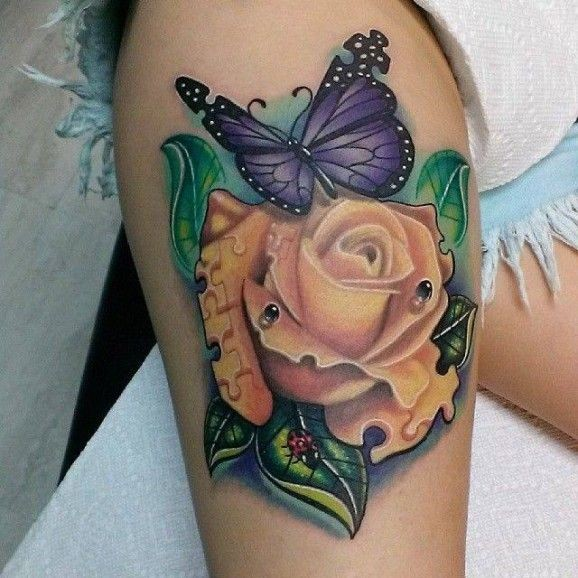Morphing ideas with  puzzle rose and butterfly by Cory Salls