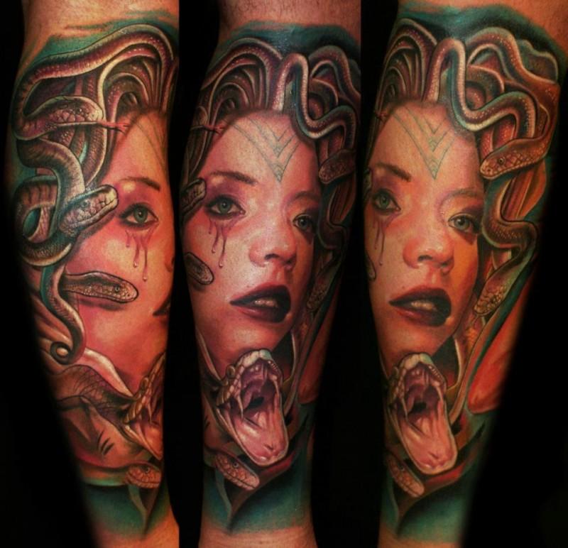 Multicolored Medusa Gorgon crying bloody tears with furious snake lifelike tattoo