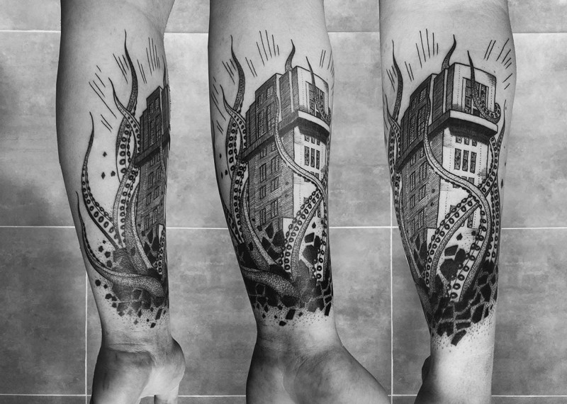 Mysterious black ink forearm tattoo of house with octopus
