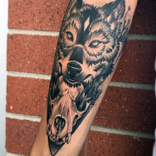 Mysterious black ink forearm tattoo of animal skull with wolf head