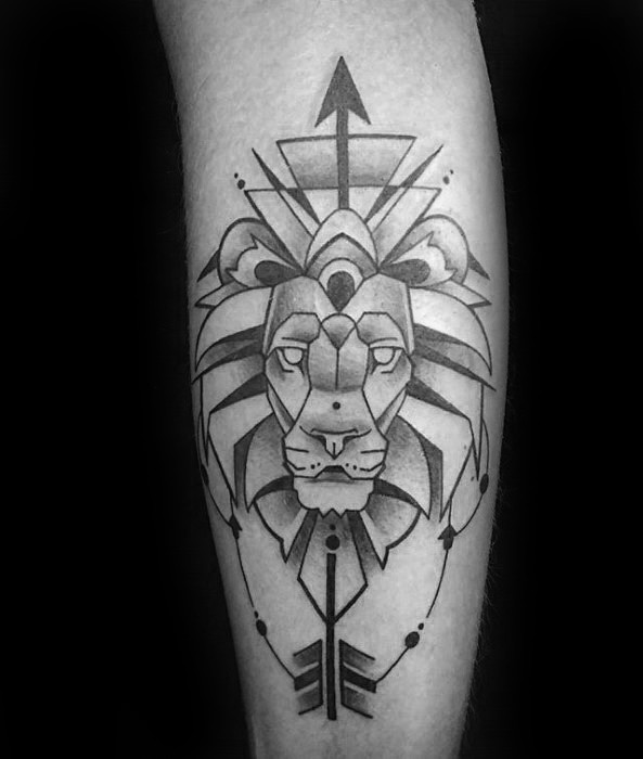 Mysterious black ink tattoo of lion head with big arrow