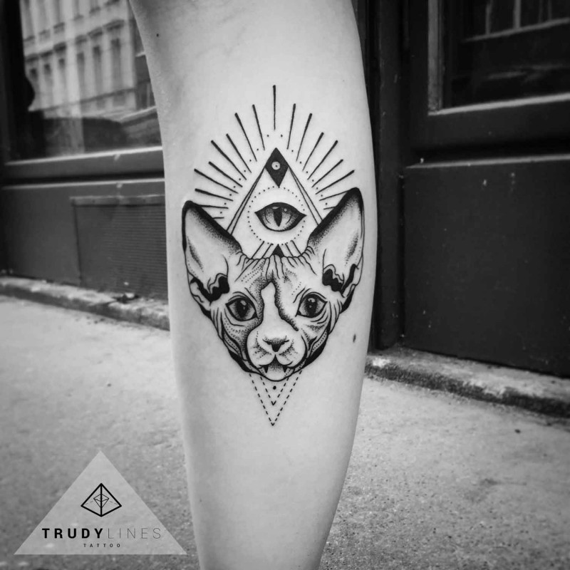Mysterious dot style leg tattoo of sphinx cat with pyramid and eye