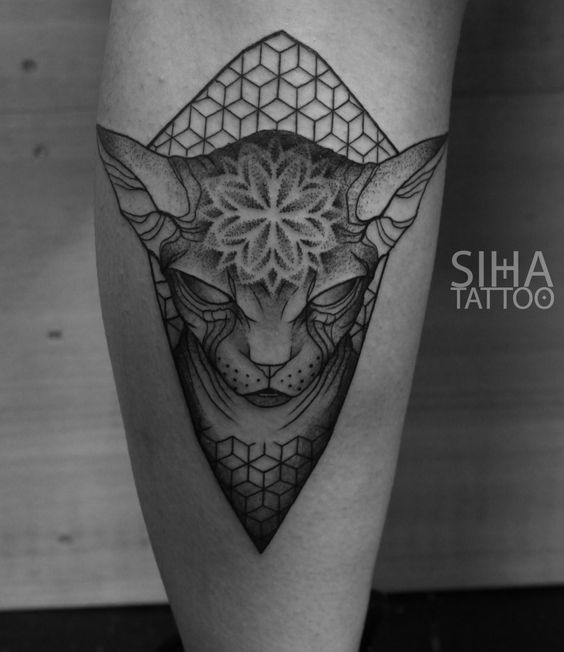 Mysterious dot style tattoo of evil sphinx cat with floral ornaments