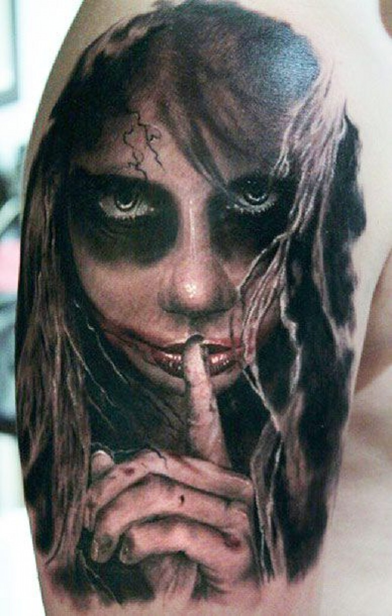 Mysterious terrible lady of the dead tattoo on shoulder