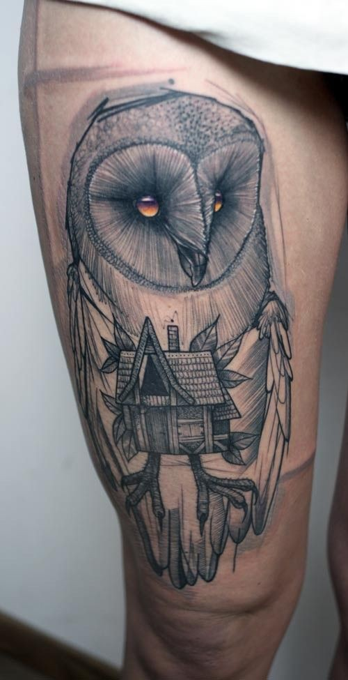 Mystical 3D realistic abstract owl with wooden house tattoo on thigh