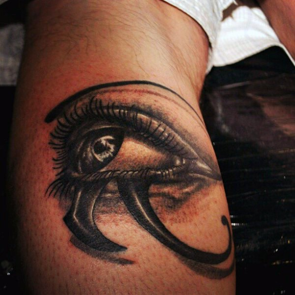 Mystical 3D realistic Egyptian ancient symbol the Eye of Horus creepy tattoo