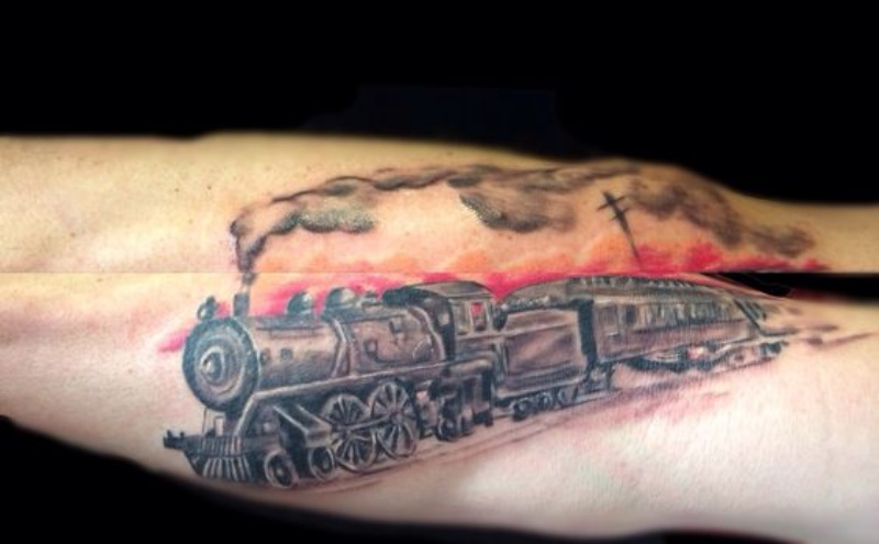 Mystical 3D style colored tattoo of long train