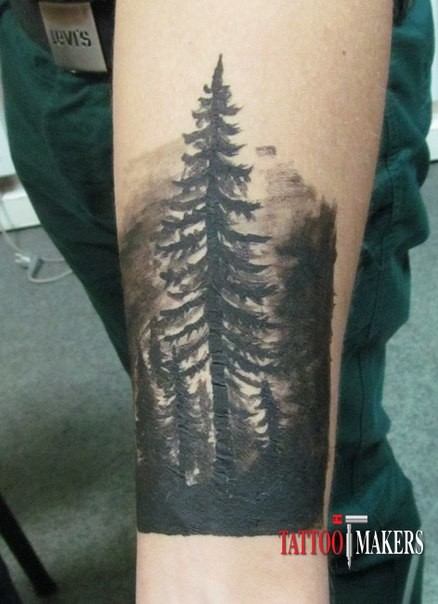 Mystical big black ink lonely tree tattoo on arm