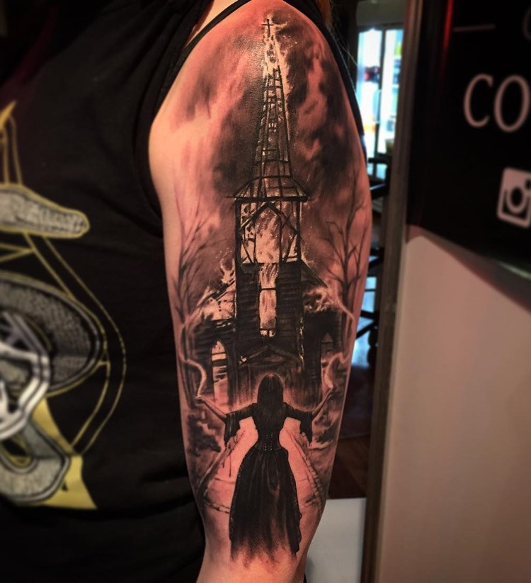 Mystical black and gray style shoulder tattoo of burning church and witch