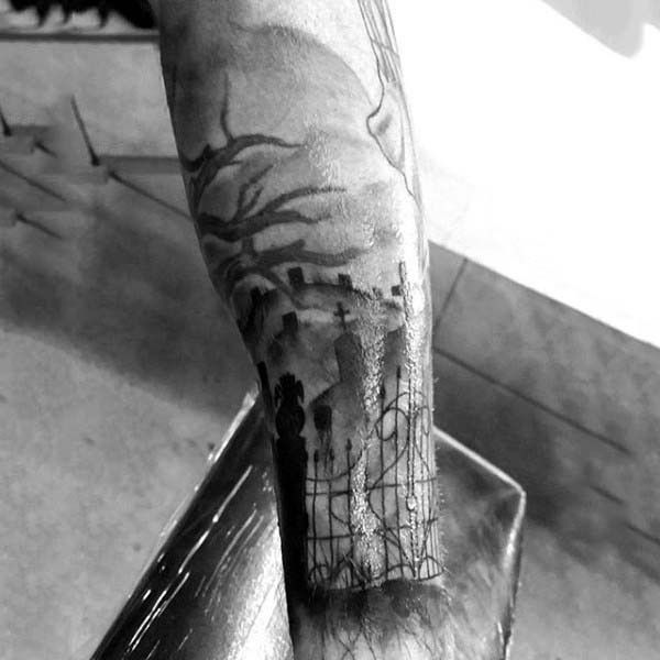 Mystical black and white big cemetery tattoo on arm for Cemetery tattoo pics