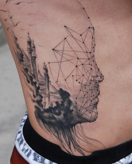 Mystical black ink geometrical tattoo with old medieval castle on side