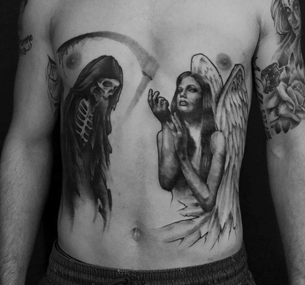 Mystical black ink praying angel tattoo on belly combined with death skeleton