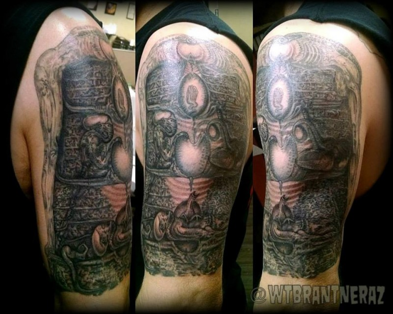 Mystical colored shoulder tattoo of ritual interment