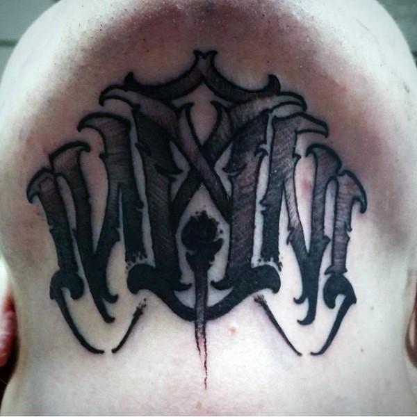 Mystical demonic black work style neck tattoo of ambigram