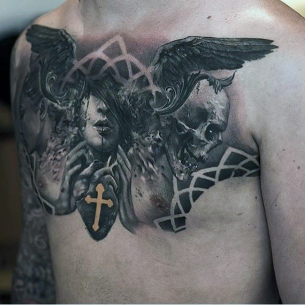 Mystical designed black and white demonic portrait with skull and wings on chest combined with human heart