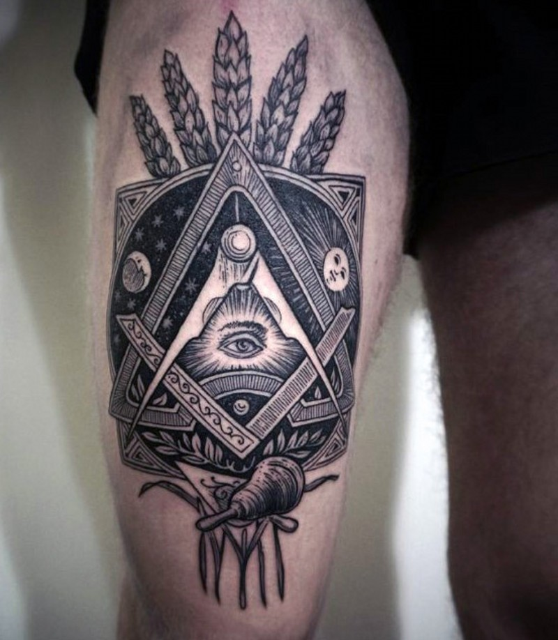 Mystical designed Masonic ornament black ink tattoo on thigh