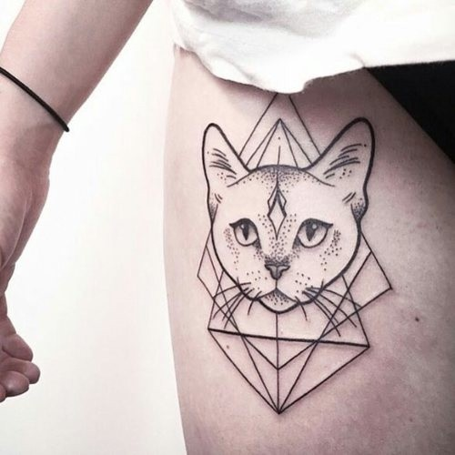Mystical dot style thigh tattoo of cat head with geometrical ornaments