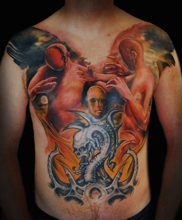 Mystical illustrative style chest and belly tattoo of humans with masked faces and creepy bone figure
