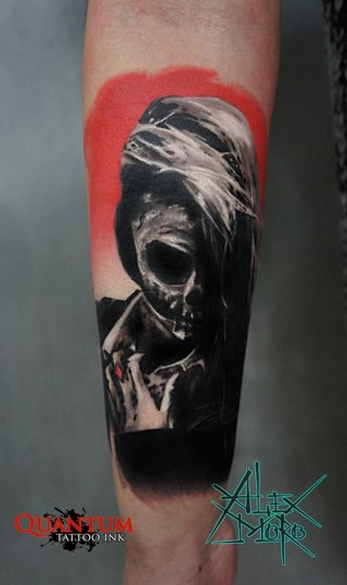Mystical looking colored forearm tattoo of mystical woman stylized by skeleton