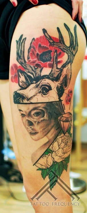 Mystical looking colored thigh tattoo of woman with deer and flowers
