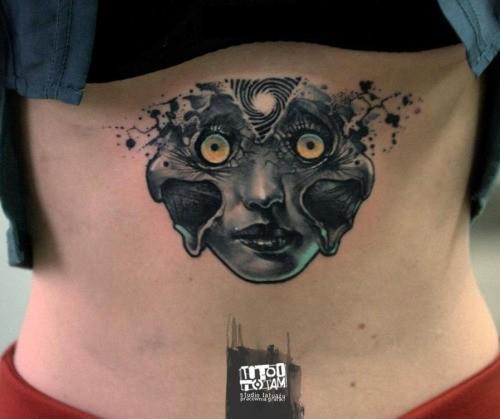 Mystical new school style demonic woman face tattoo on back