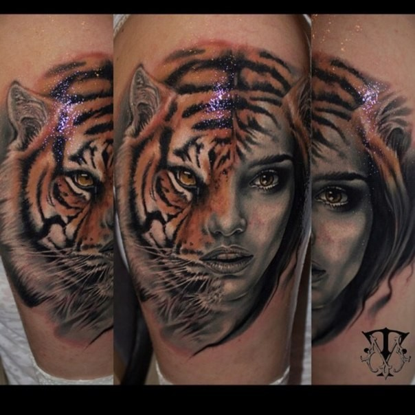 Mystical realistic looking colored leg tattoo of half tiger half woman portrait