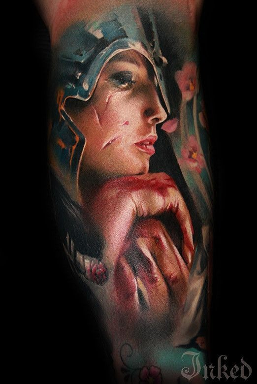 Mystical sharp designed colored creepy bloody Queen tattoo on leg