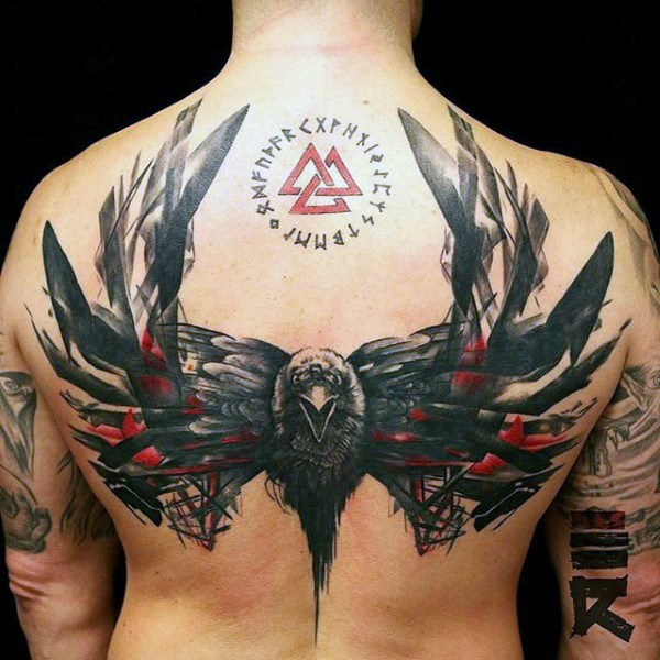 Mystical style colored scapular tattoo of demonic crow tattoo with lettering