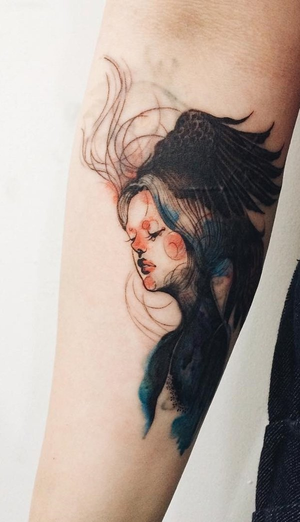 Mystical style painted big black and white woman portrait tattoo on arm