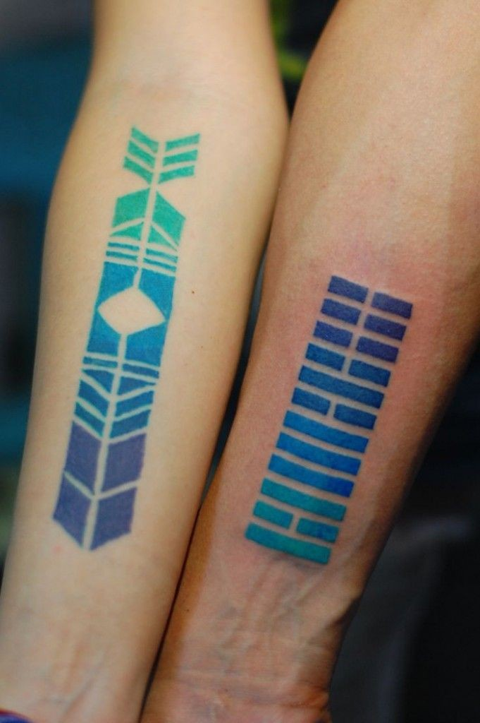 Mystical tribal colored ornaments tattoo on arms