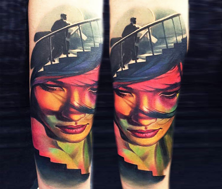 Mystical unusual designed woman portrait tattoo combined with man walking up the stairs