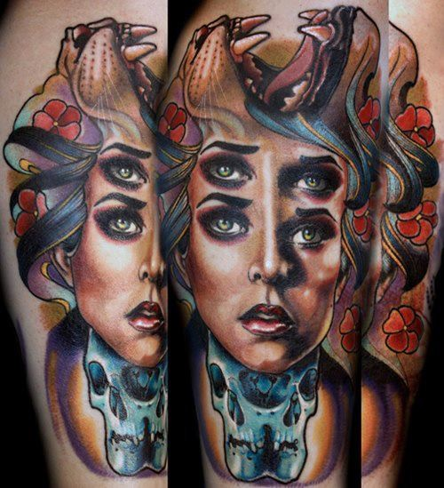 Mystical woman portrait tattoo on shoulder with lion and flowers