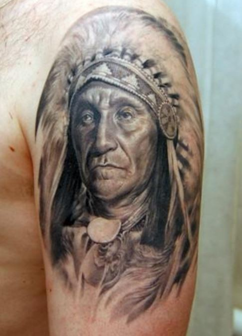 Native american old warrior tattoo on shoulder