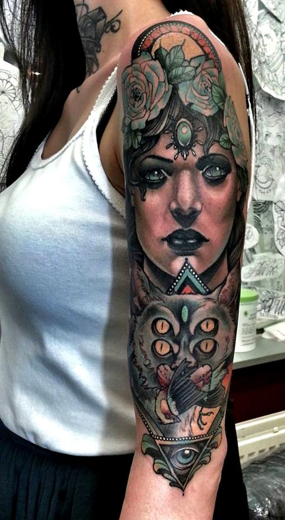 Natural colored mystical woman portrait tattoo on sleeve combined with mystical bat