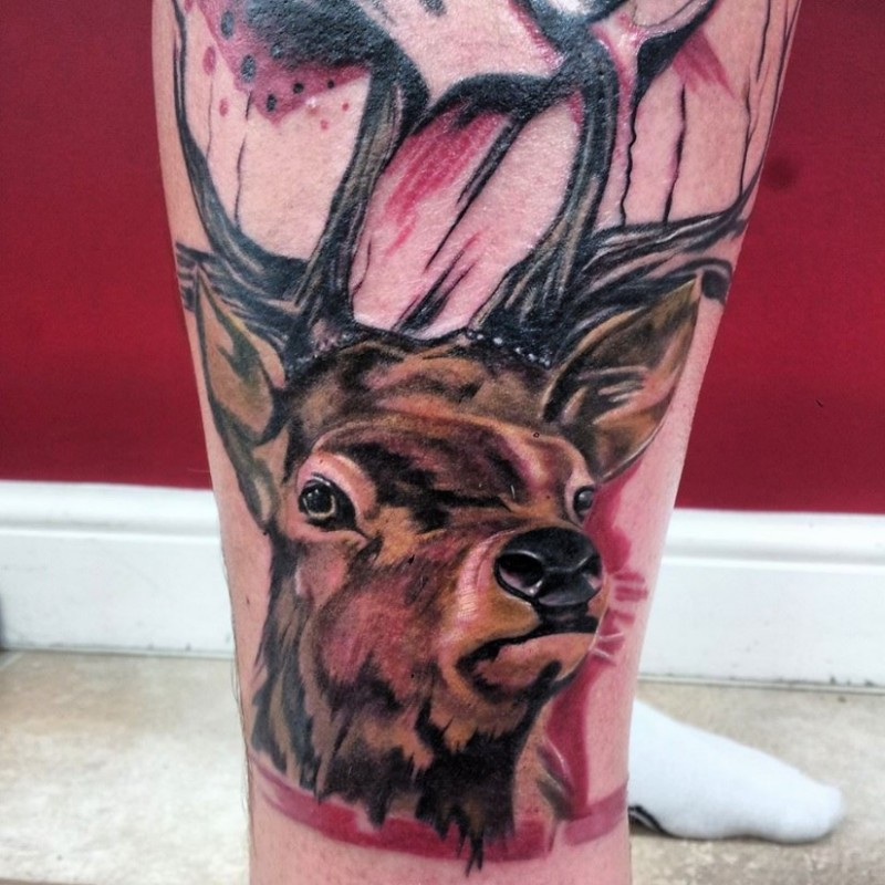 Natural looking big colored deer face tattoo on leg