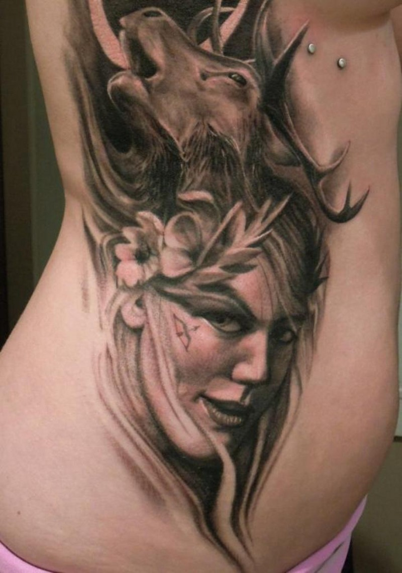 Natural looking black and white 3D wild woman portrait tattoo on side with elk