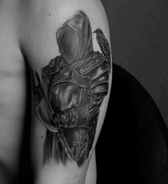 Natural looking black and white dark warrior on shoulder with crow