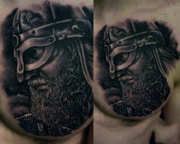 Natural looking black and white detailed chest tattoo of antic warrior portrait