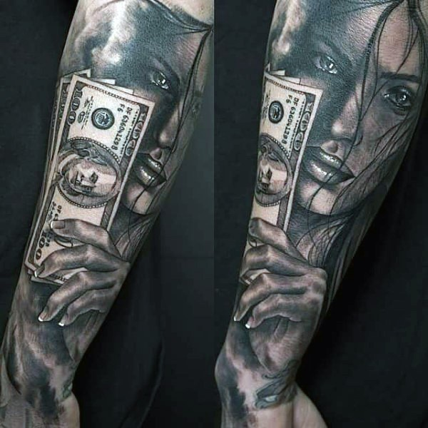 Natural looking black and white forearm tattoo of woman with dollar bills