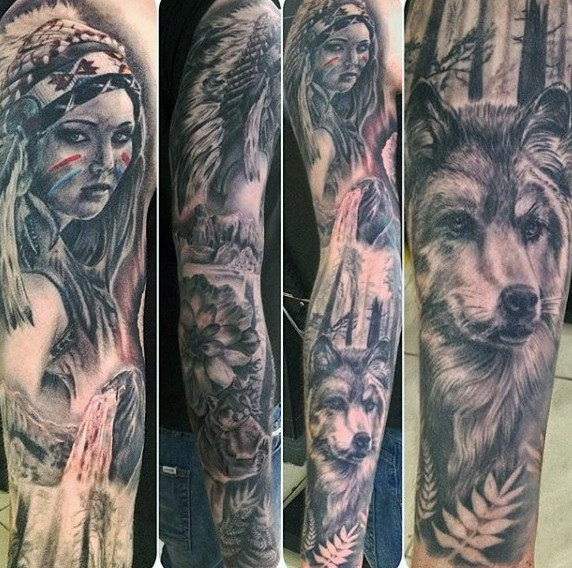 Natural looking black and white Indian woman tattoo on sleeve with wolf in big worest