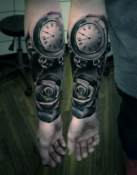 Natural looking black and white mystical clock with flower tattoo on arm