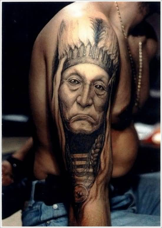 Natural looking black and whited old Indian portrait tattoo on shoulder zone