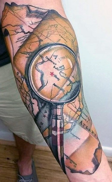 Natural looking colored big lope with world map tattoo on arm natural looking colored big lope with world map tattoo on arm gumiabroncs