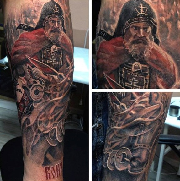 Natural looking colored cool forearm tattoo of medieval old horse rider