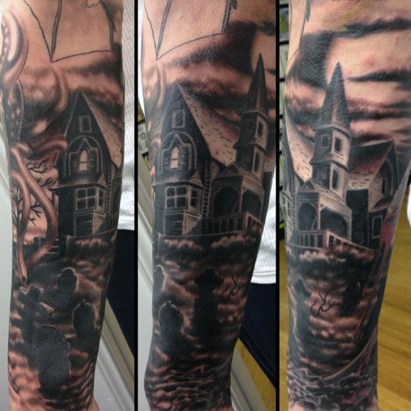 Natural looking colored dar lonely house tattoo on forearm with cemetery