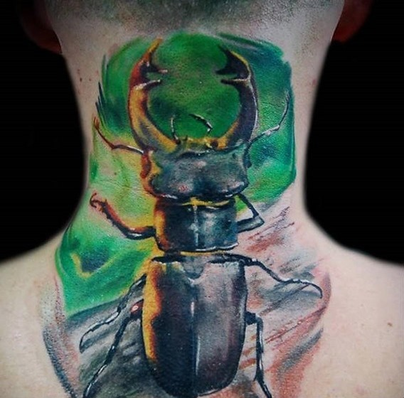 Natural looking colored neck tattoo of big bug with horns