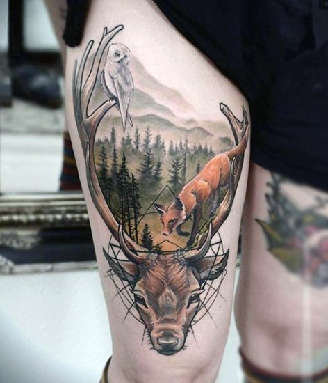 Natural looking colored thigh tattoo of wold life animals with deer