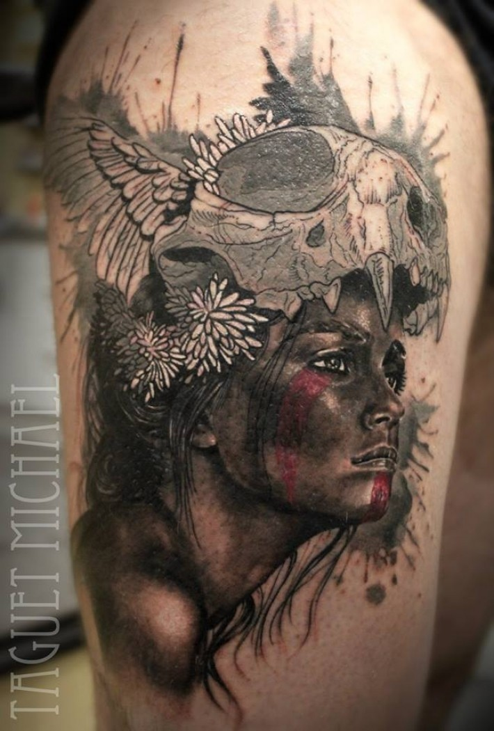 Natural looking colored thigh tattoo of Tribal woman with cat skull and cool flowers