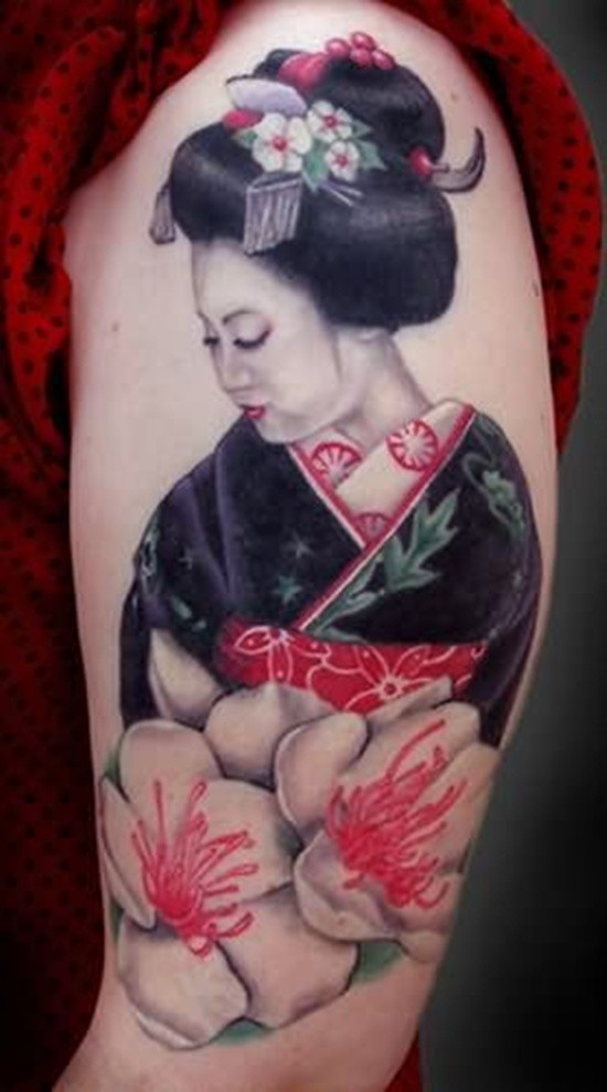 Natural looking colorful geisha tattoo on shoulder combined with big flowers