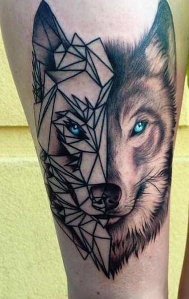 Natural looking half abstract half real wolf face tattoo